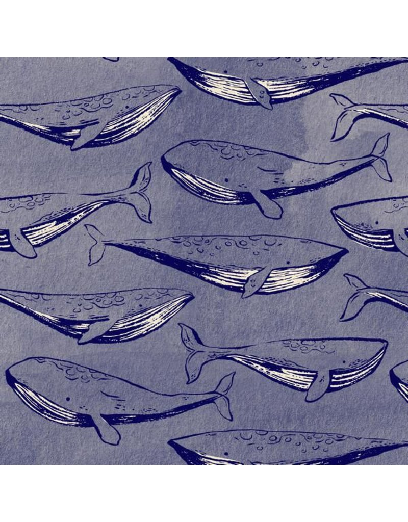 Cotton + Steel S.S. Bluebird, Fred & Carrie in Navy, Fabric Half-Yards