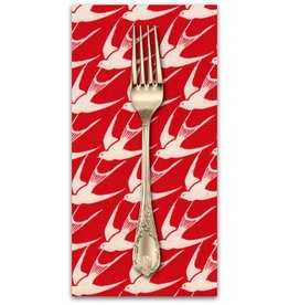 PD's Cotton + Steel Collection S.S. Bluebird, Flock in Red, Dinner Napkin