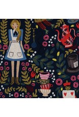 Rifle Paper Co. Linen/Cotton Canvas, Wonderland in Navy with Metallic, Fabric Half-Yards
