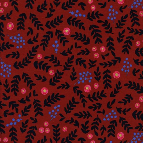 Rifle Paper Co. Wonderland, Rose Garden in Crimson with Metallic, Fabric Half-Yards