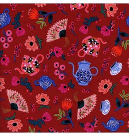 Rifle Paper Co. Wonderland, Garden Party in Crimson, Fabric Half-Yards