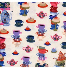 Rifle Paper Co. Wonderland, Mad Tea Party in Neutral, Fabric Half-Yards