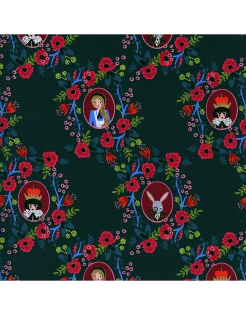 Rifle Paper Co. Wonderland, Cameos in Green, Fabric Half-Yards