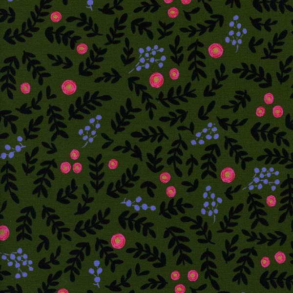 Rifle Paper Co. Wonderland, Rose Garden in Moss with Metallic, Fabric Half-Yards