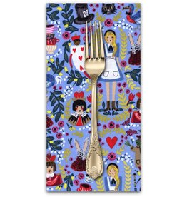 PD's Rifle Paper Co Collection Wonderland in Periwinkle with Metallic, Dinner Napkin
