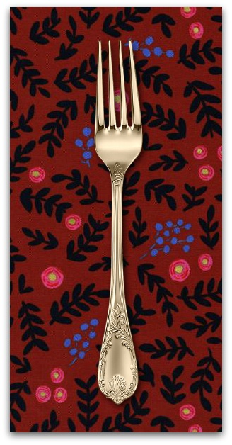 PD's Rifle Paper Co Collection Wonderland, Rose Garden in Crimson with Metallic, Dinner Napkin