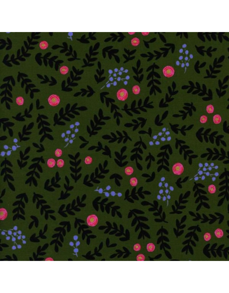 PD's Rifle Paper Co Collection Wonderland, Rose Garden in Moss with Metallic, Dinner Napkin