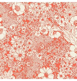 Robert Kaufman Laurel Canyon, Sixties Flowers in Poppy, Fabric Half-Yards
