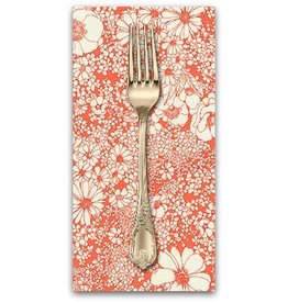 PD's Robert Kaufman Collection Laurel Canyon, Sixties Flowers in Poppy, Dinner Napkin
