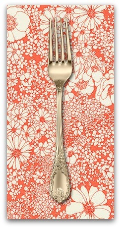 PD's Robert Kaufman Collection Laurel Canyon, Sixties Flowers in Poppy, Dinner Napkin