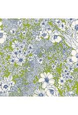 Robert Kaufman Laurel Canyon, Sixties Flowers in Lime, Fabric Half-Yards