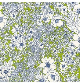 Robert Kaufman Laurel Canyon, Sixties Flowers in Lime, Fabric Half-Yards