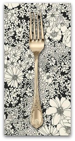 PD's Robert Kaufman Collection Laurel Canyon, Sixties Flowers in Black, Dinner Napkin