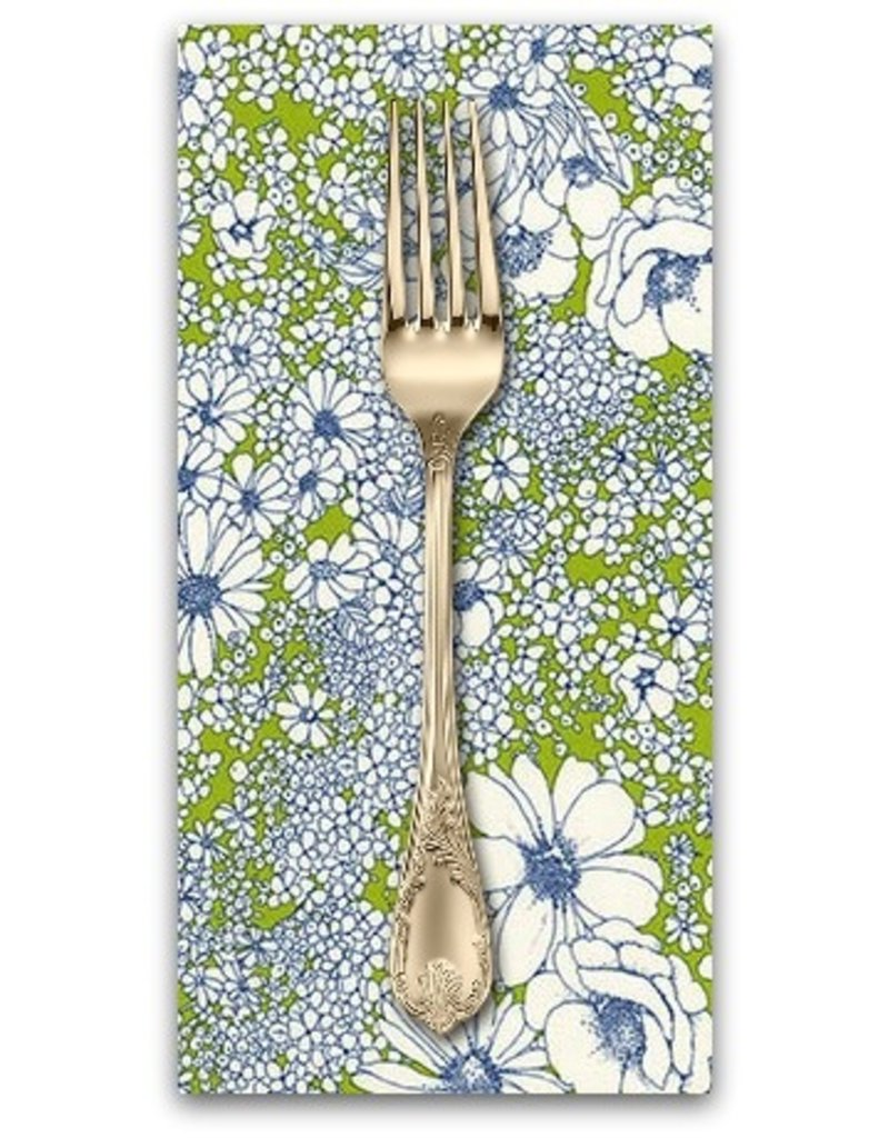 PD's Robert Kaufman Collection Laurel Canyon, Sixties Flowers in Lime, Dinner Napkin