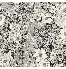 Robert Kaufman Laurel Canyon, Sixties Flowers in Black, Fabric Half-Yards