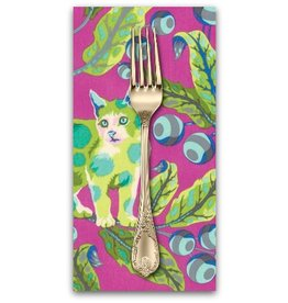 PD's Tula Pink Collection Tabby Road, Disco Kitty in Berry Bird, Dinner Napkin