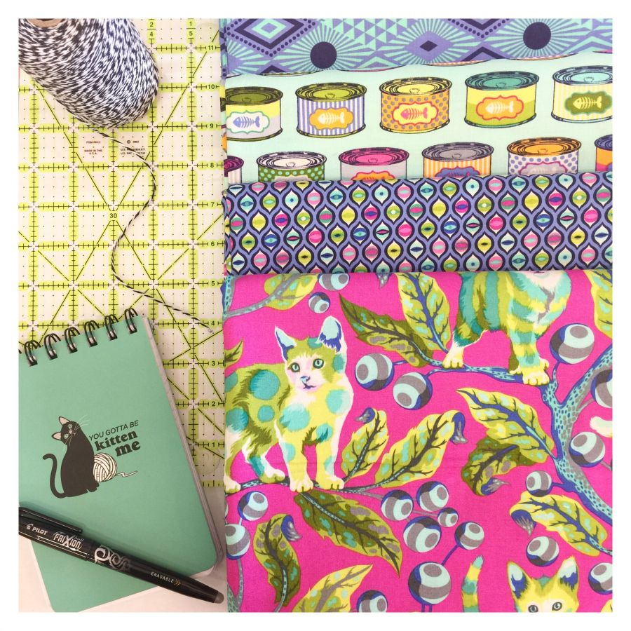 PD's Tula Pink Collection Tabby Road, Lucy in Blue Bird, Dinner Napkin
