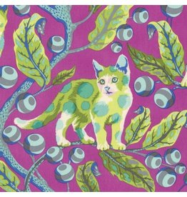 Tula Pink Tabby Road, Disco Kitty in Berry Bird, Fabric Half-Yards