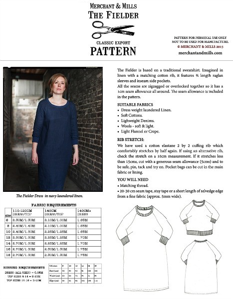 "Merchant & Mills Merchant & Mills ""The Fielder Dress"" Paper Pattern"