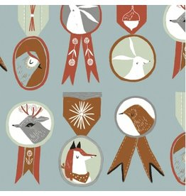 Rae Ritchie Folkwood, Badges in Polar, Fabric Half-Yards