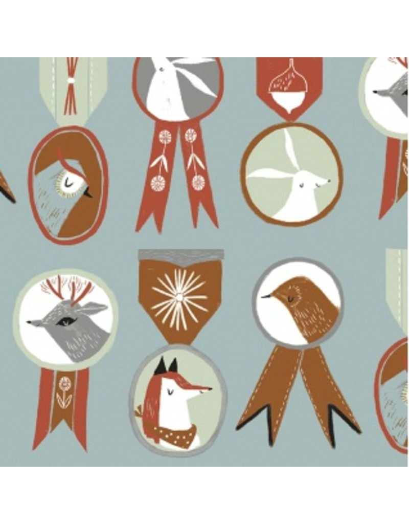Rae Ritchie Folkwood, Badges in Polar, Fabric Half-Yards