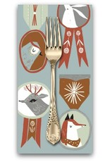 PD's Rae Ritchie Collection Folkwood, Badges in Polar, Dinner Napkin