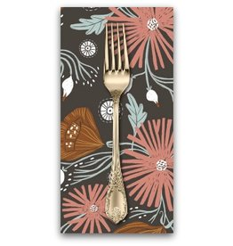 PD's Rae Ritchie Collection Folkwood, Wild Folk Floral in Chocolate, Dinner Napkin