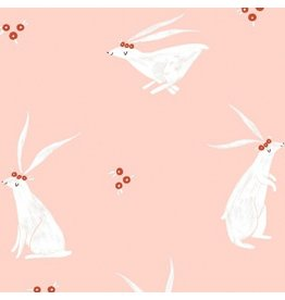 Rae Ritchie Folkwood, Rabbits in Pink, Fabric Half-Yards