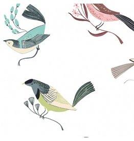 Rae Ritchie Perch, Birds in Multi, Fabric Half-Yards