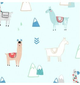 Dear Stella No Drama llama, Llamas in Mist, Fabric Half-Yards