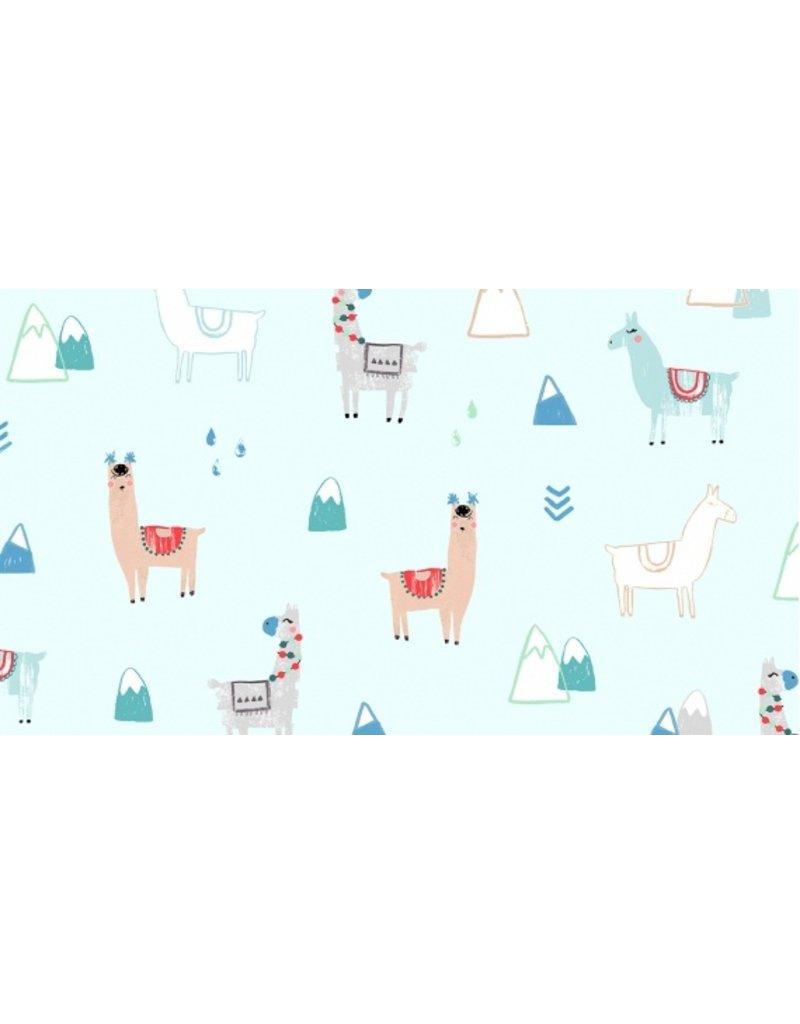 Dear Stella No Drama llama, Llamas in Mist, Fabric Half-Yards