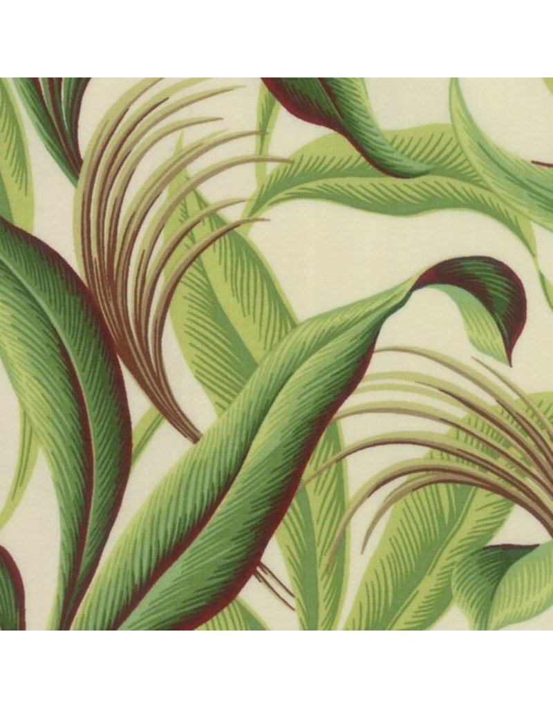 Moda Collections Sunshine, Tropical Leaves in Ivory, Fabric Half-Yards