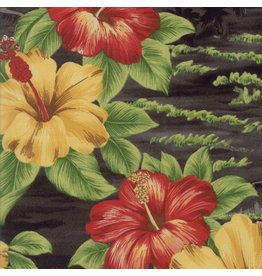 Moda Collections Sunshine, Hibuscus in Black, Fabric Half-Yards