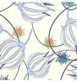 Zen Chic True Blue, Tulips in White, Fabric Half-Yards