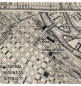 Tim Holtz Dapper, Street Maps in Black, Fabric Half-Yards