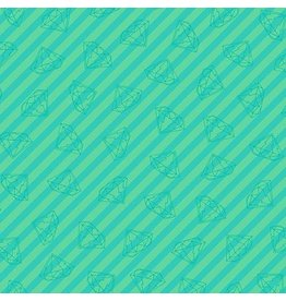 Libs Elliott Tattooed, Gem Stripe in Green, Fabric Half-Yards