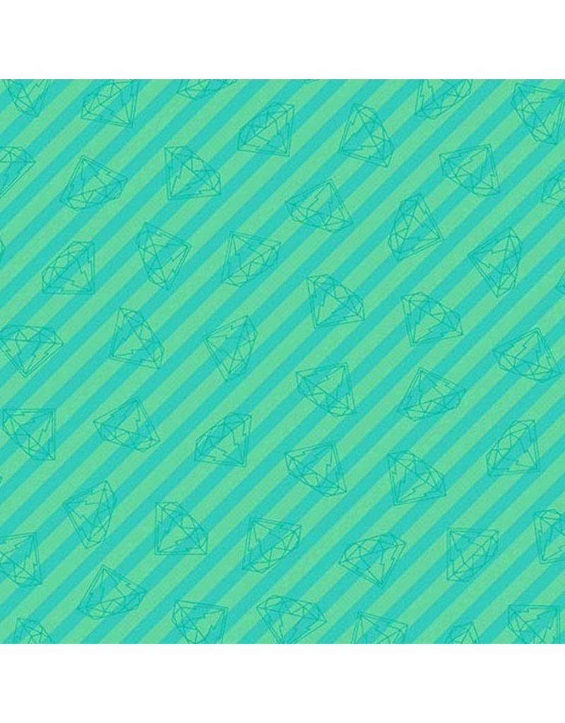 Libs Elliott Tattooed, Gem Stripe in Green, Fabric Half-Yards