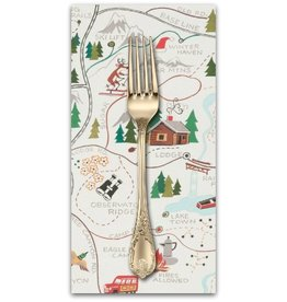 PD's Alexander Henry Collection Christmas Time, Sugar Mountain Trail in Natural, Dinner Napkin