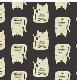 Sarah Golden Linen Maker Maker, Cats on Tailored Cloth in Black, Fabric Half-Yards