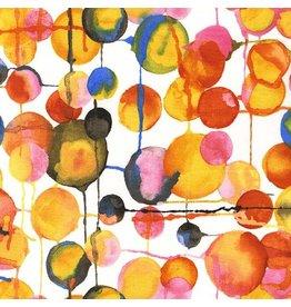 Laura Gunn Koi Garden, Bubbles in White, Fabric Half-Yards