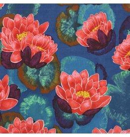 Laura Gunn Koi Garden, Blooming Lotus in Red, Fabric Half-Yards