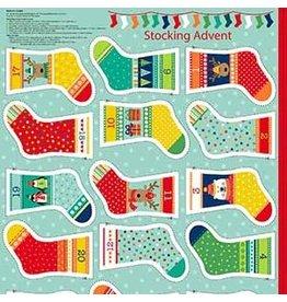 "Andover Fabrics Christmas Stocking, Advent Calendar in Multi, 24"" Fabric Panel"