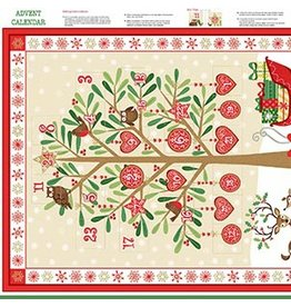 "Andover Fabrics Traditional Metallic Christmas, Advent Calendar in Multi, 24"" Fabric Panel"