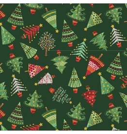 Andover Fabrics Traditional Metallic Christmas, Trees in Green, Fabric Half-Yards