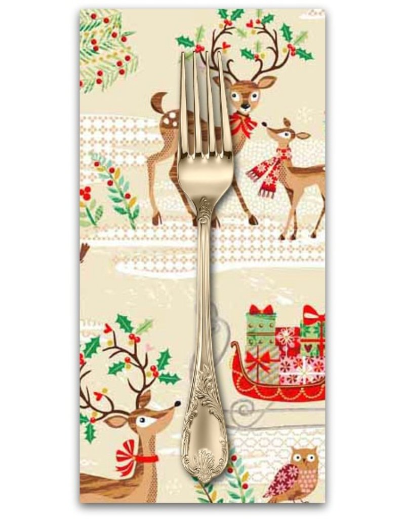PD's Andover Collection Traditional Metallic Christmas, Scenic in Multi, Dinner Napkin