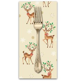 PD's Andover Collection Traditional Metallic Christmas, Reindeer Scatter in Multi, Dinner Napkin
