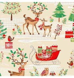 Andover Fabrics Traditional Metallic Christmas, Scenic in Multi, Fabric Half-Yards