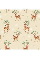 Andover Fabrics Traditional Metallic Christmas, Reindeer Scatter in Multi, Fabric Half-Yards