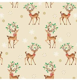 Andover Fabrics Traditional Metallic Christmas, Reindeer Scatter in Multi, Fabric Half-Yards