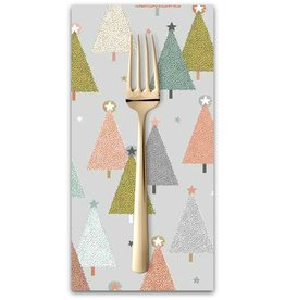 PD's Andover Collection Modern Metallic Christmas, Trees in Silver, Dinner Napkin